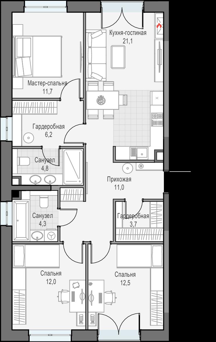 4Е-комнатная квартира, 87.4 м², 26 этаж – Планировка