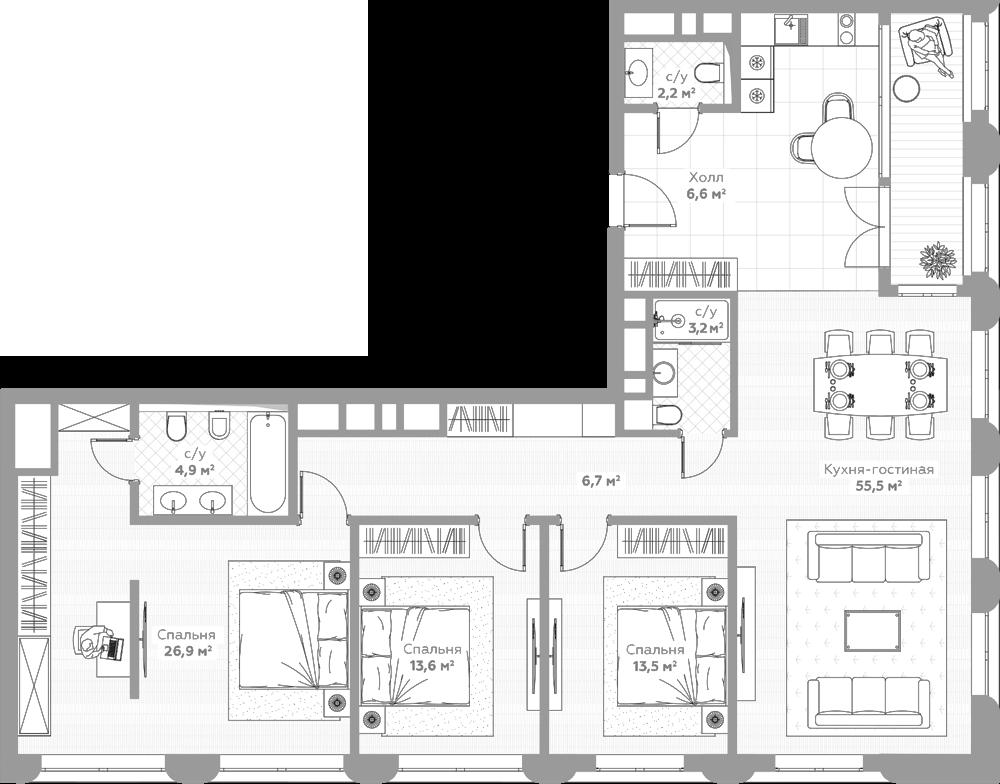 4Е-к.кв, 143.1 м²
