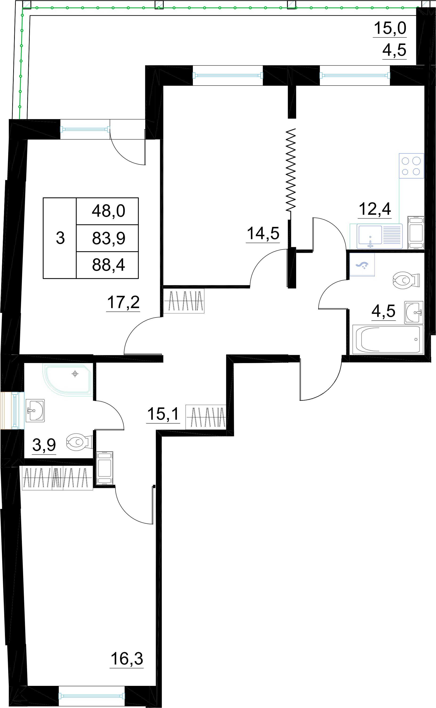 3-к.кв, 88.4 м²