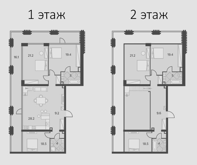 6-комнатная, 199.3 м²– 2