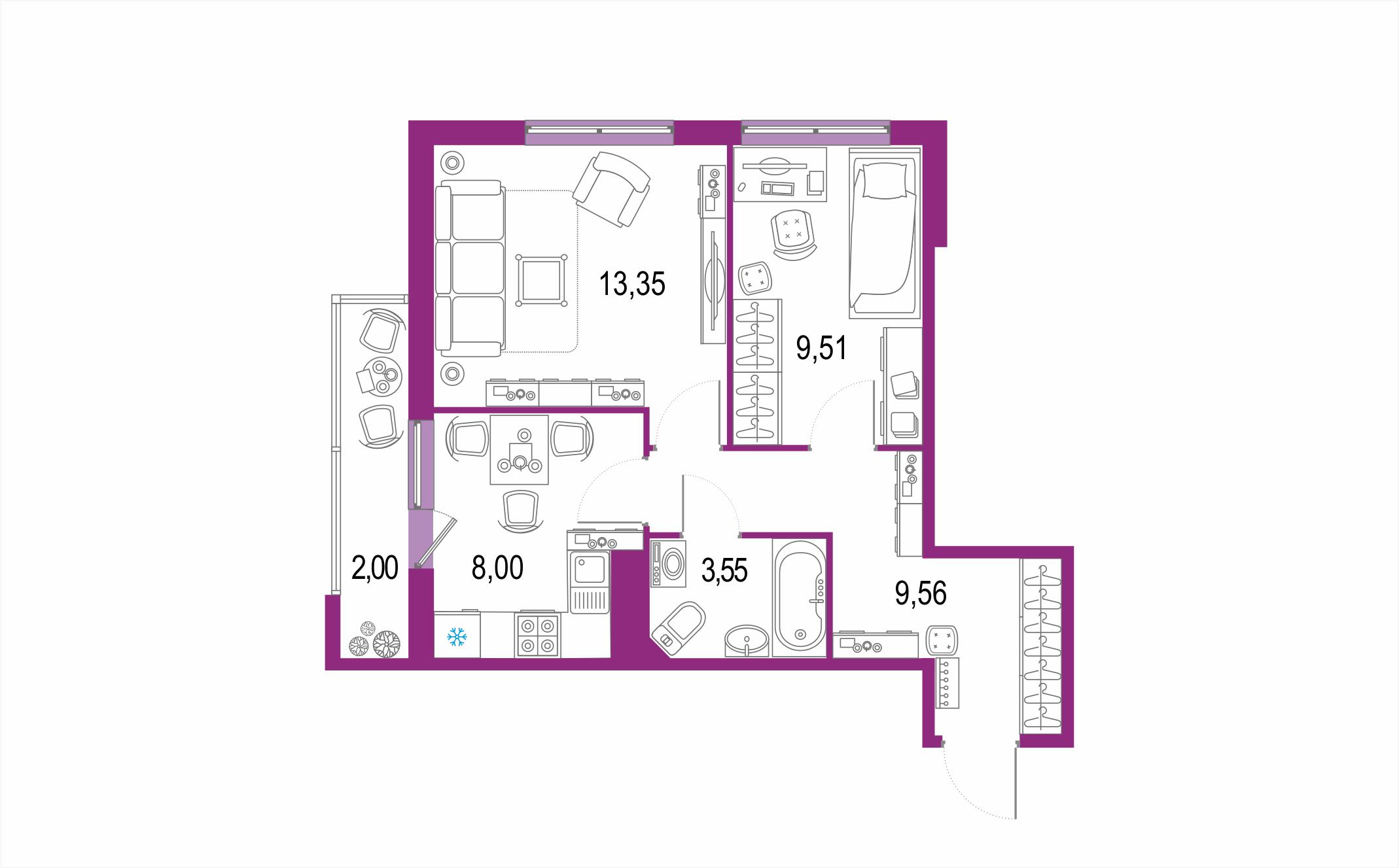 2-к.кв, 47.97 м²