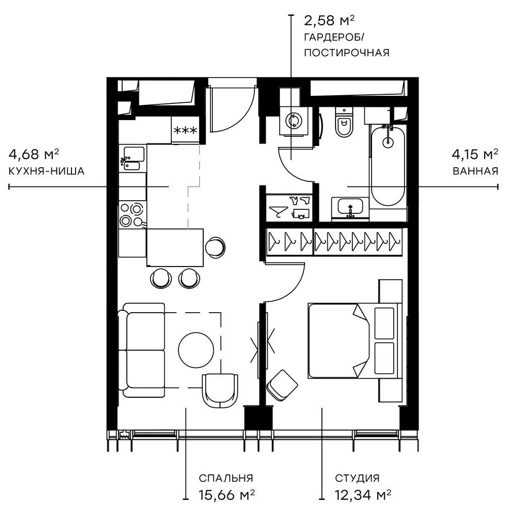 2Е-комнатная, 39.41 м²– 2