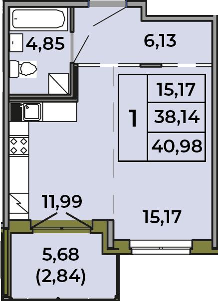 Студия, 38.14 м²– 2
