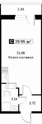 Студия, 29.99 м²