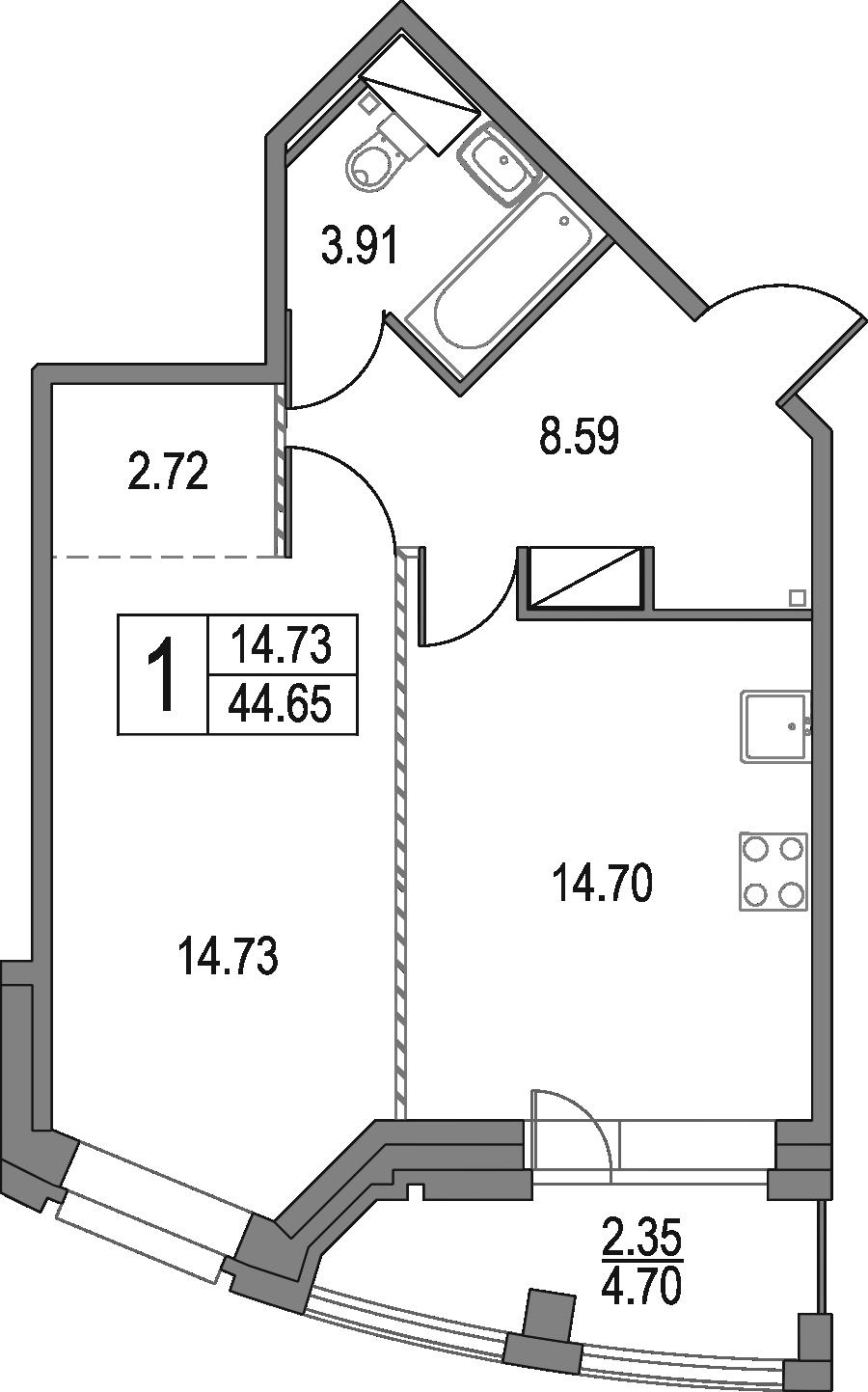 1-комнатная, 44.65 м²– 2