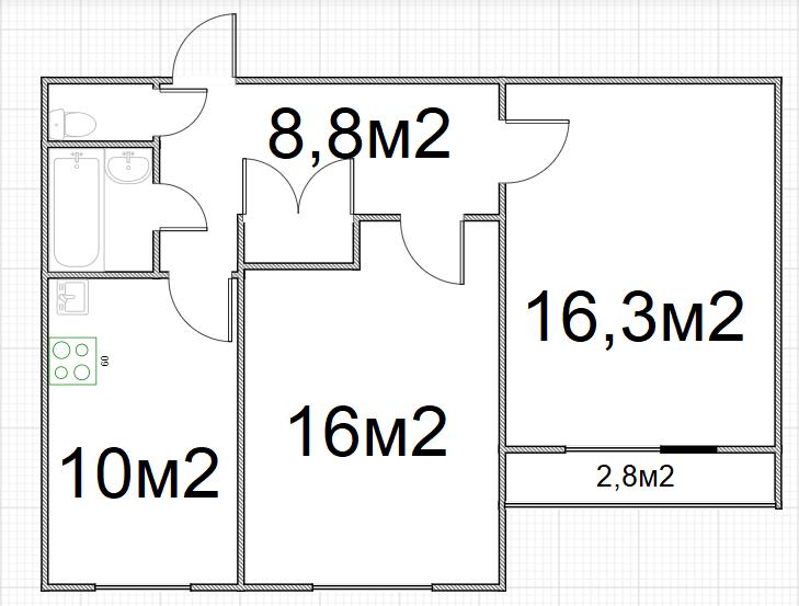 2-к.кв, 58.4 м²