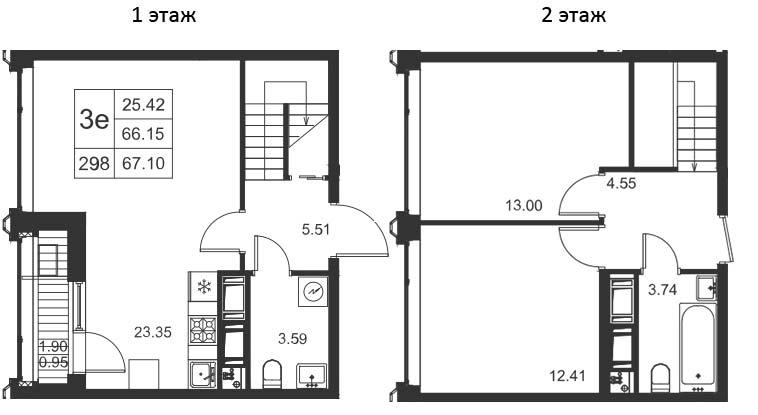 3Е-комнатная, 67.1 м²– 2