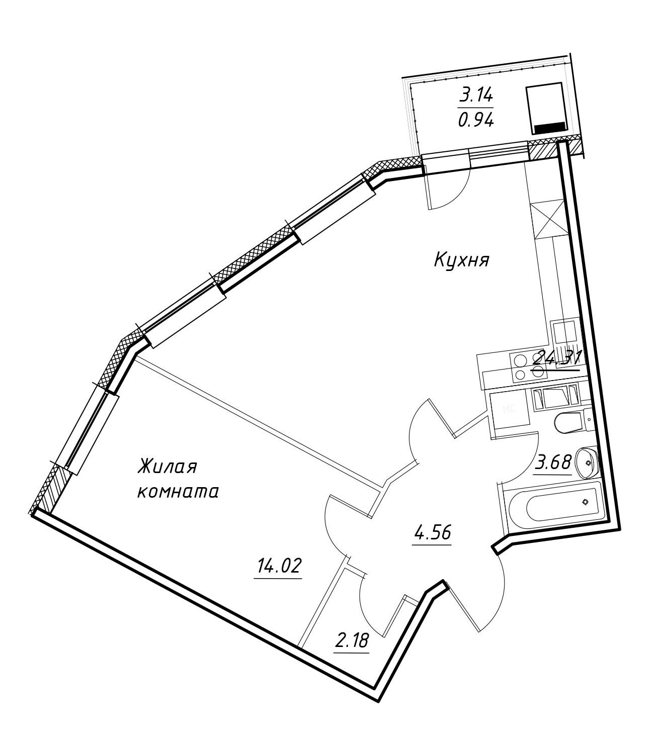 2Е-комнатная, 51.89 м²– 2