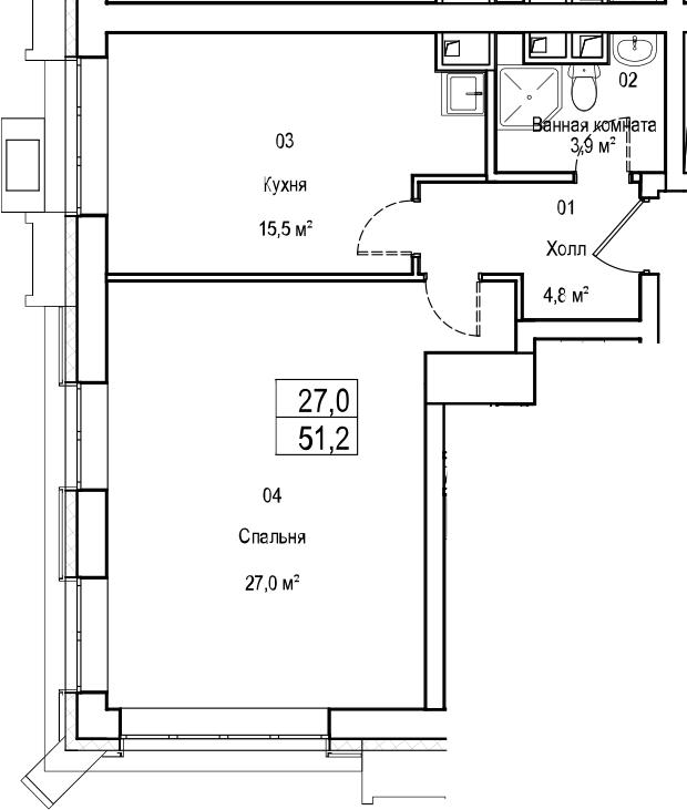 2Е-комнатная, 51.2 м²– 2