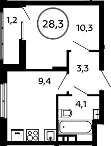 1-к.кв, 28.3 м²