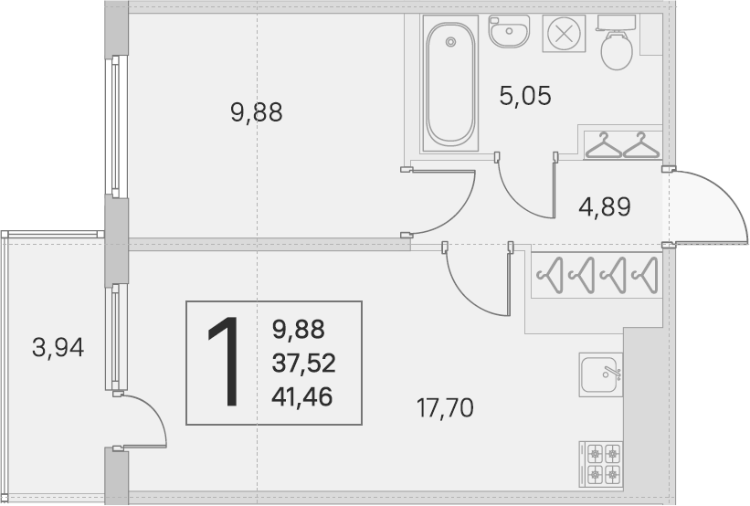 2Е-к.кв, 37.52 м²