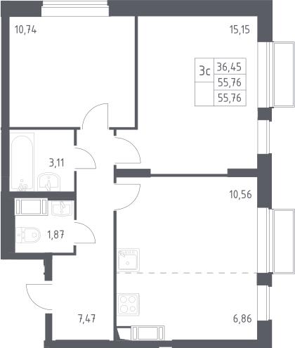 3Е-к.кв, 55.76 м², от 20 этажа