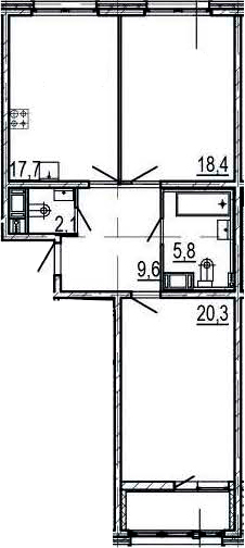 3Е-комнатная, 75.9 м²– 2