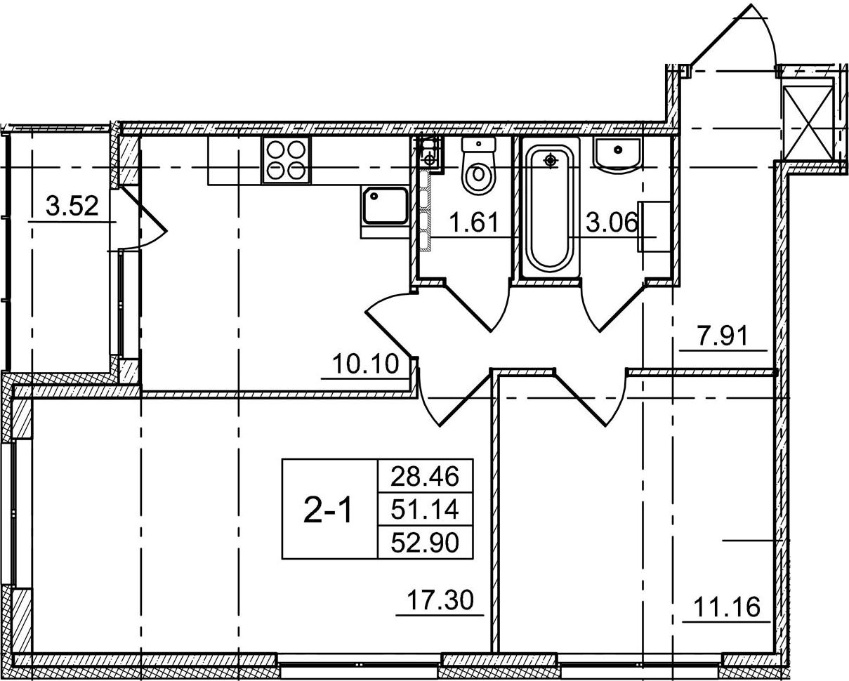 2-к.кв, 54.66 м²