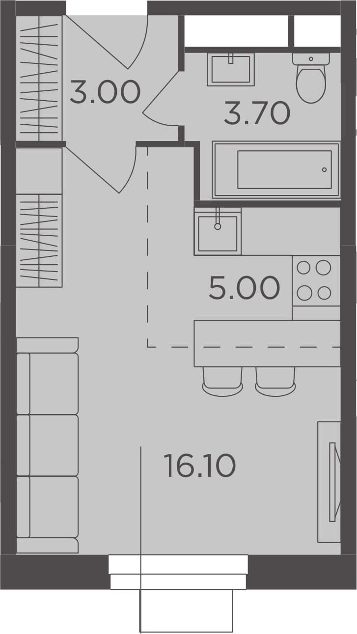 Студия, 27.8 м², 6 этаж – Планировка