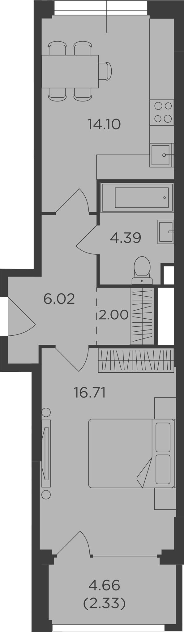 1-комнатная, 45.55 м²– 2