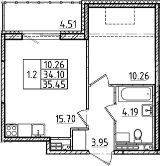 2Е-к.кв, 34.1 м²