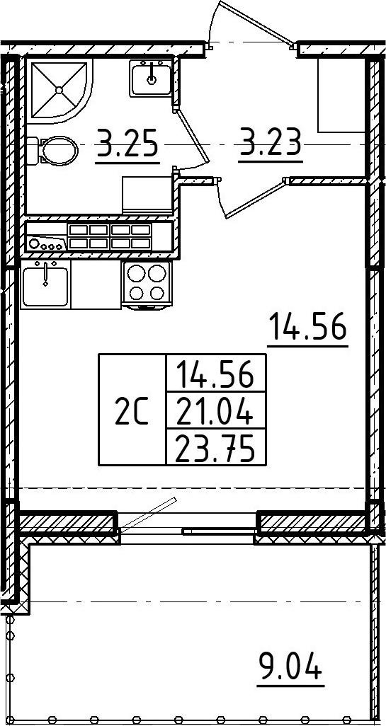 Студия, 23.75 м²