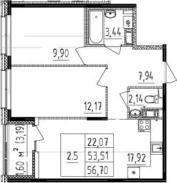 3Е-к.кв, 53.51 м², 10 этаж