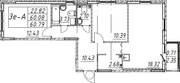 3Е-к.кв, 60.79 м², 1 этаж