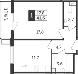 1-комнатная квартира, 41.6 м², 13 этаж – Планировка