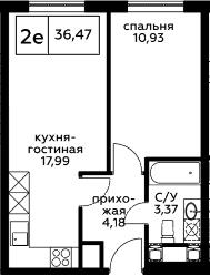 2Е-к.кв, 36.47 м², 13 этаж