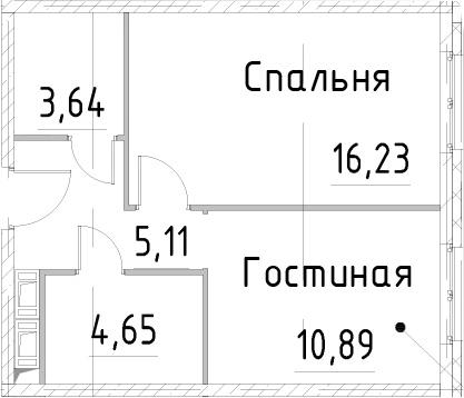 1-к.кв, 40.51 м², 24 этаж