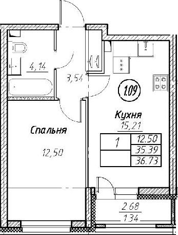 2Е-к.кв, 36.73 м², 2 этаж