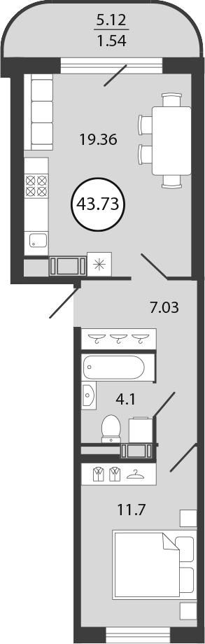 2Е-комнатная, 43.73 м²– 2