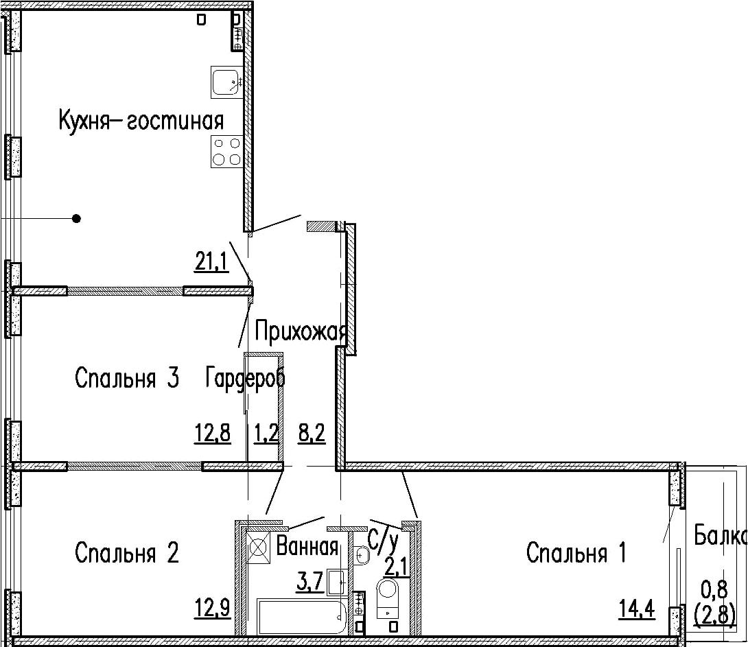 4Е-к.кв, 76.4 м²