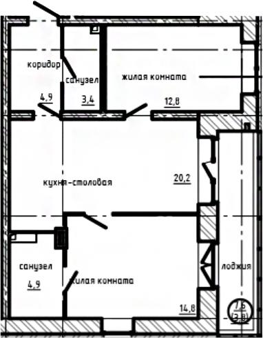 2-комнатная, 64.8 м²– 2