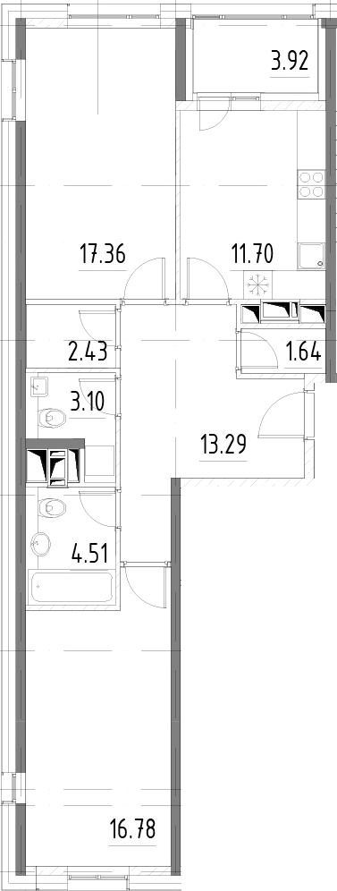 2-к.кв, 74.73 м²
