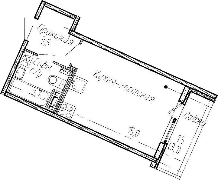 Студия, 25.3 м²