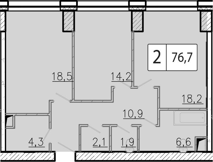 3-к.кв (евро), 76.7 м²