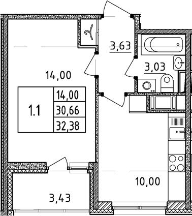 1-к.кв, 34.09 м²