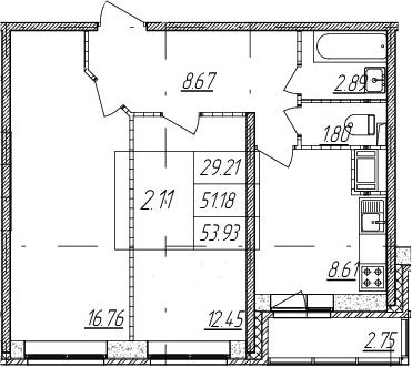 2-к.кв, 51.18 м²