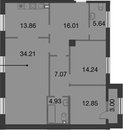 3-к.кв, 110.31 м², 2 этаж