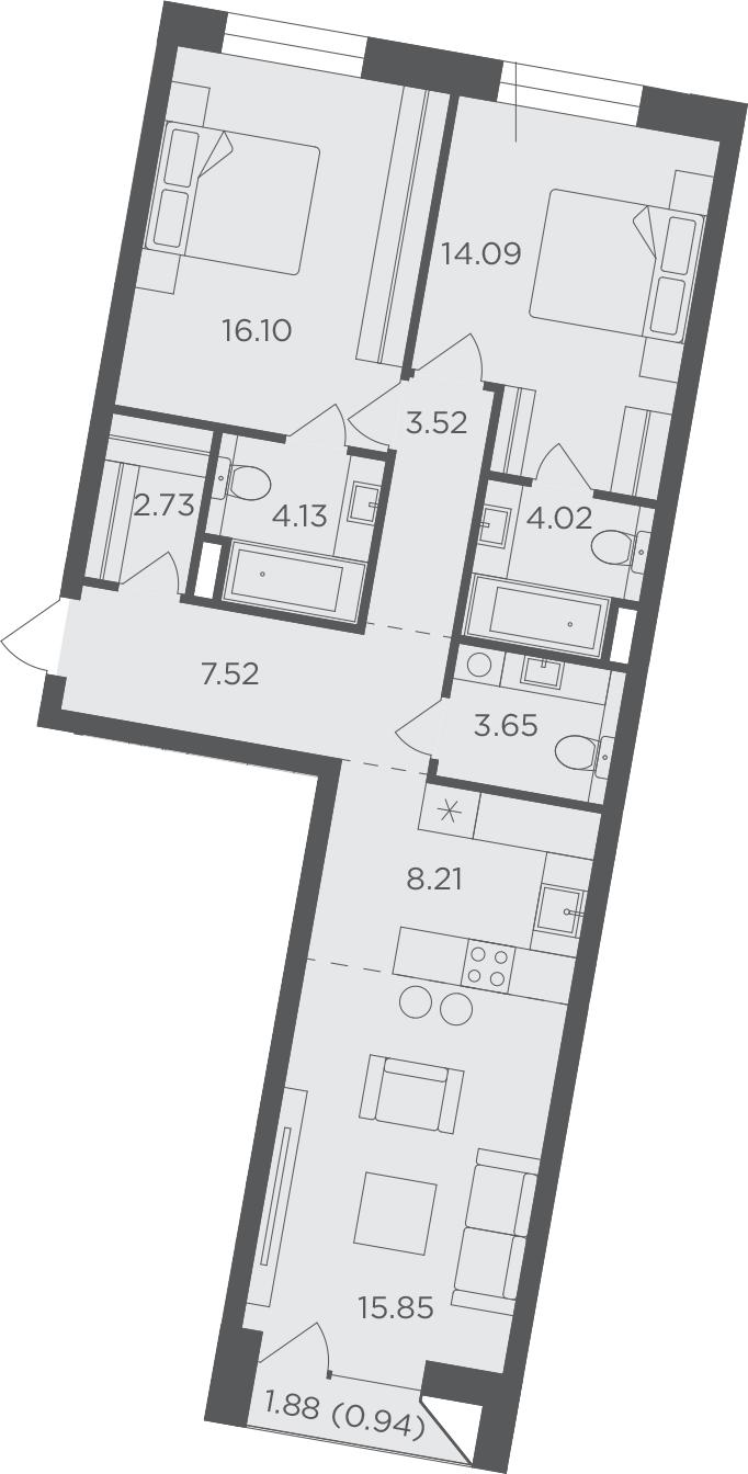3Е-к.кв, 80.76 м², 7 этаж
