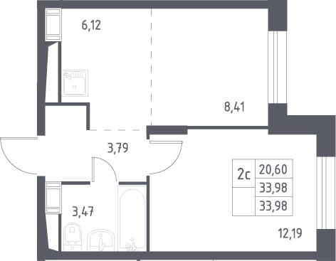 2Е-комнатная, 33.98 м²– 2