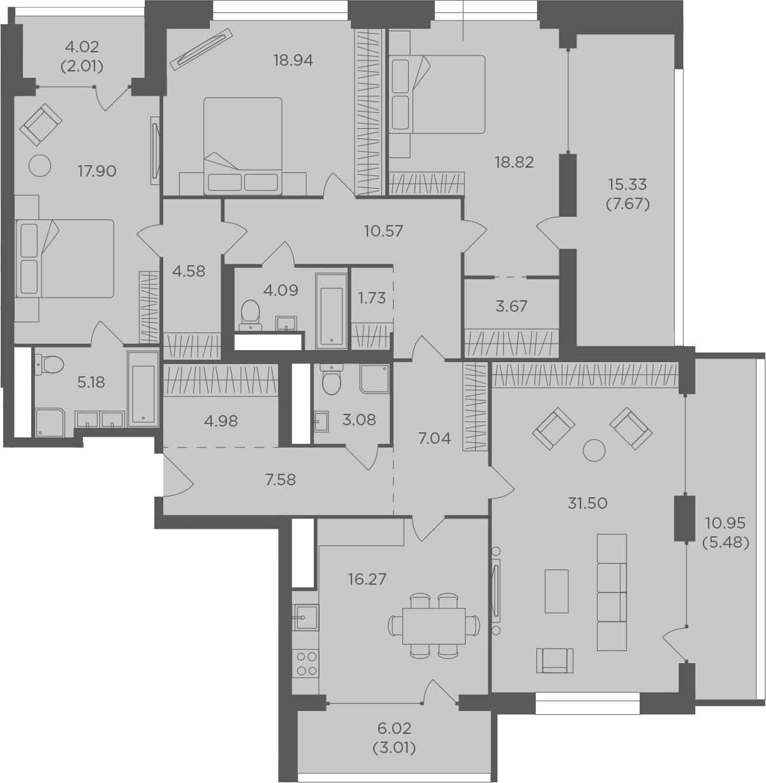 4-к.кв, 174.1 м²
