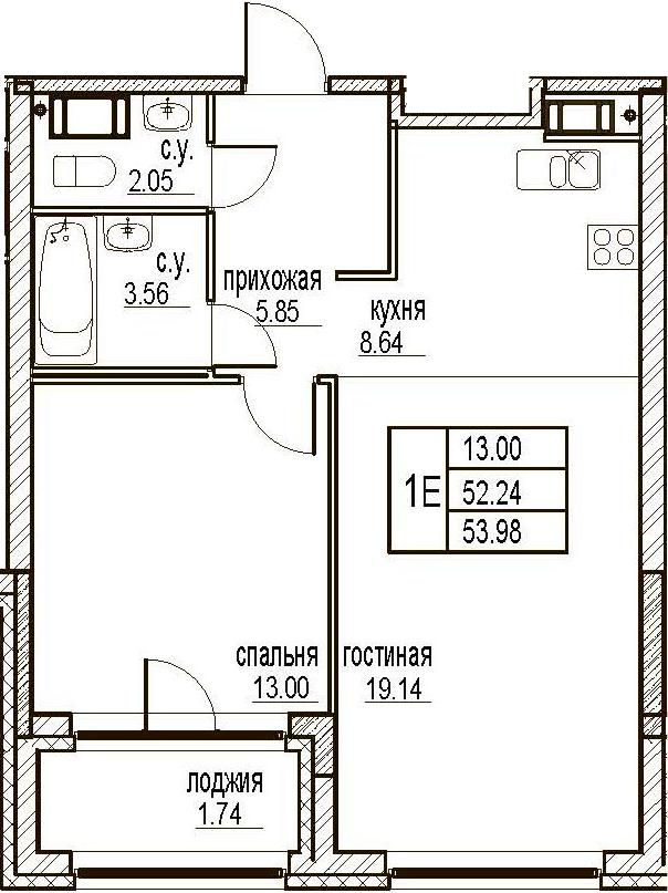 2Е-комнатная, 53.98 м²– 2