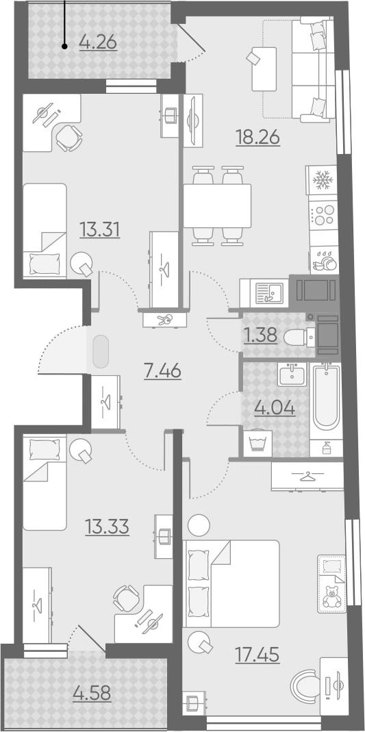 4Е-к.кв, 79.65 м², 13 этаж
