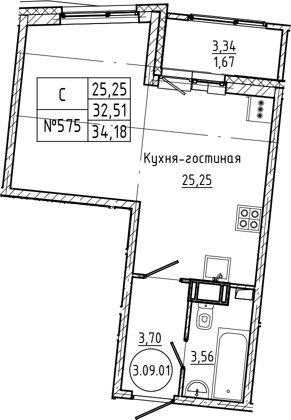 Студия, 34.18 м²– 2