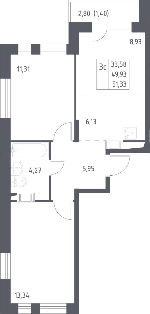 3Е-к.кв, 51.33 м², 15 этаж