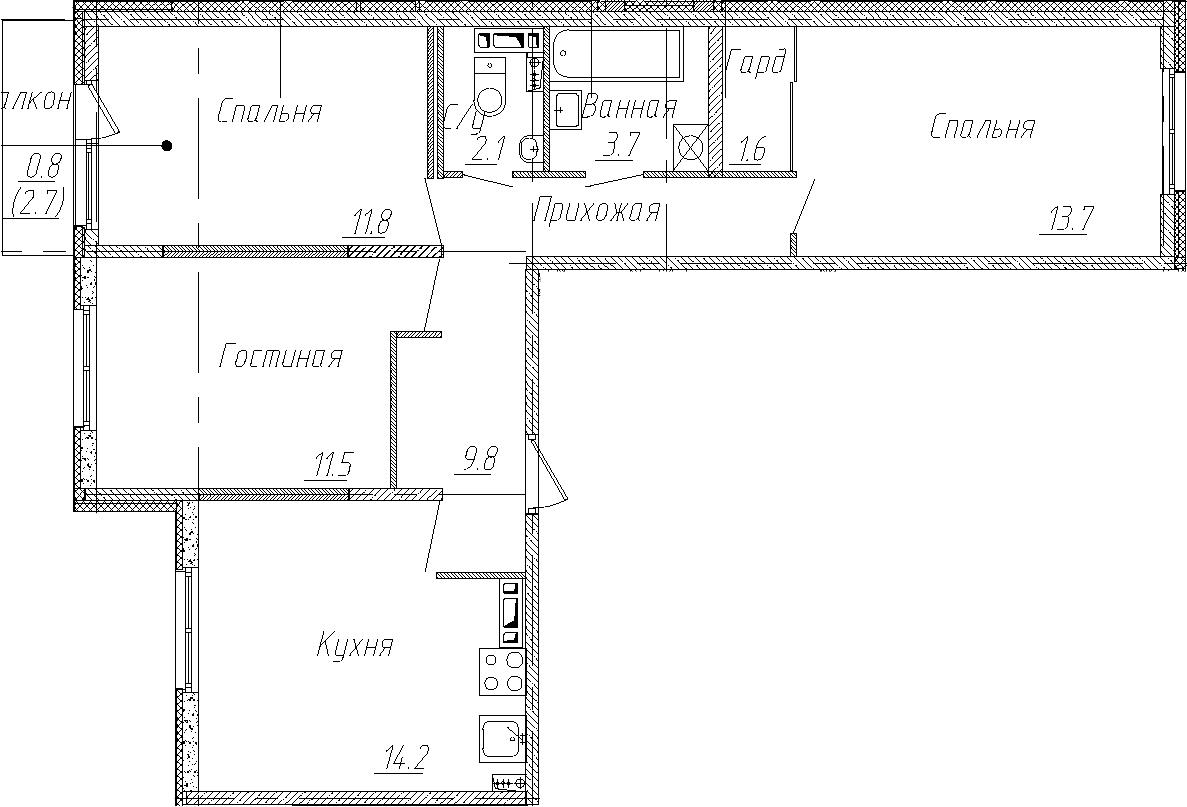 3-комнатная, 68.4 м²– 2