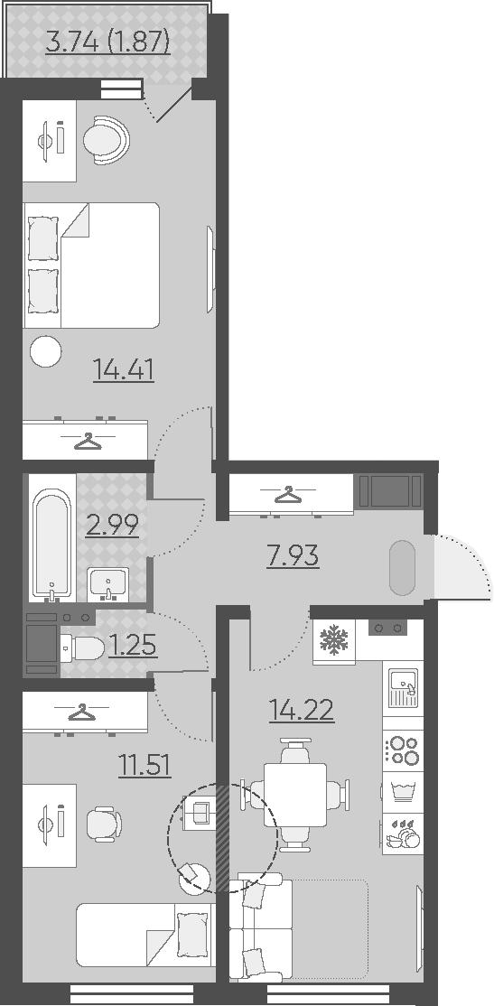 2-комнатная, 54.18 м²– 2
