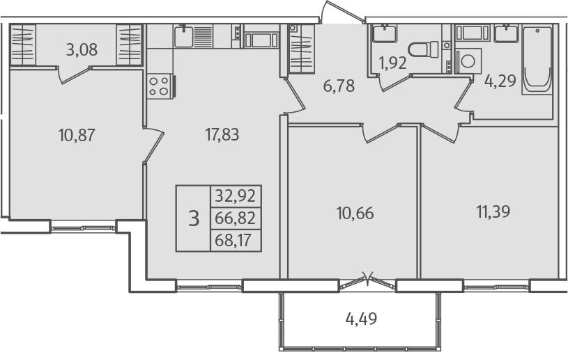 4Е-к.кв, 68.17 м²