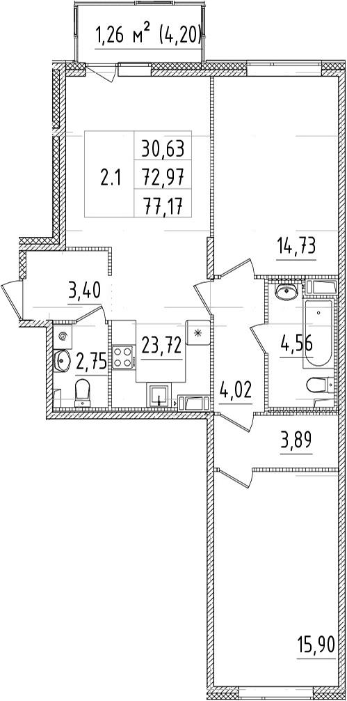 3Е-комнатная, 72.97 м²– 2