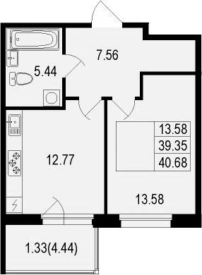 1-комнатная, 40.68 м²– 2