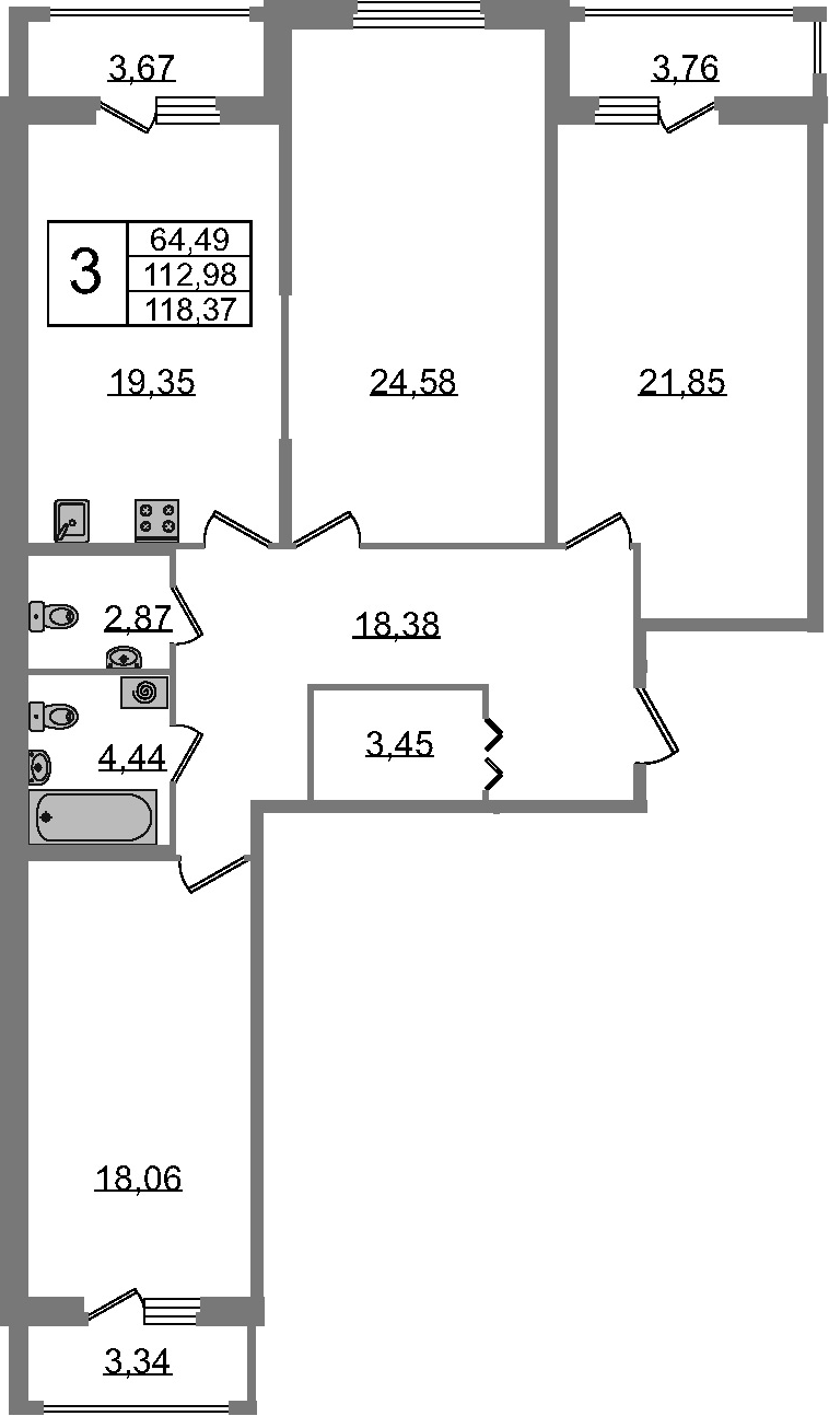 3-к.кв, 123.75 м²